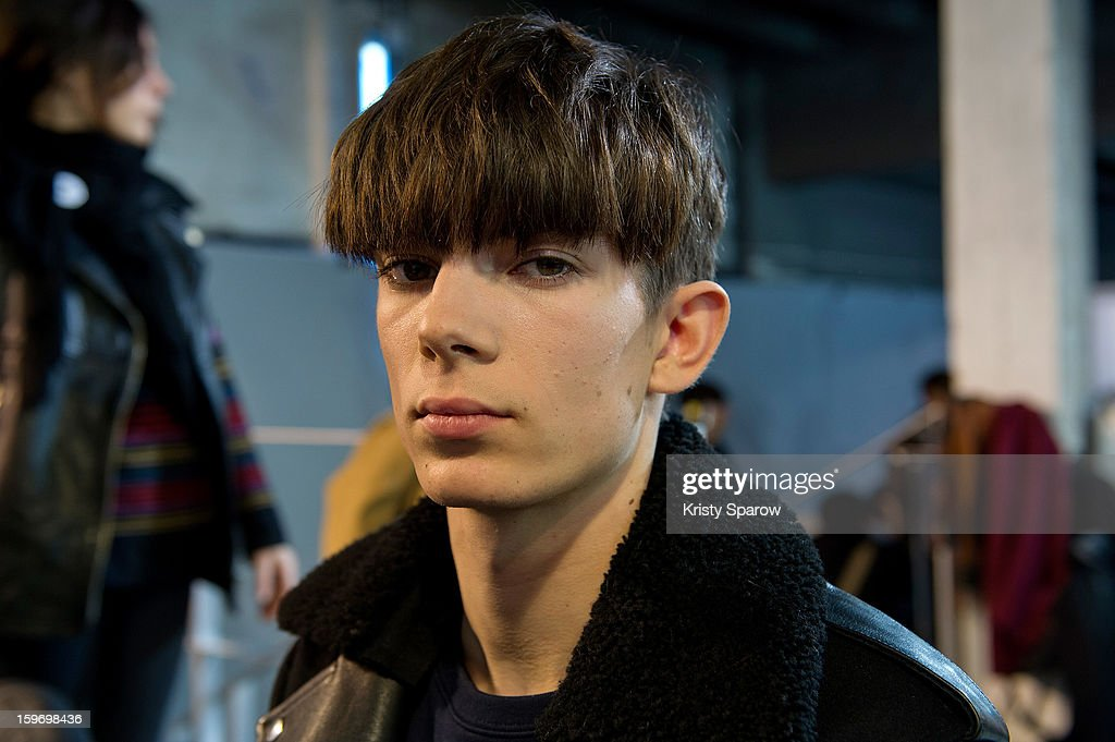 A model poses backstage before the Krisvanassche Menswear Autumn / Winter 2013/14 show as part of Paris Fashion Week on January 18, 2013 in Paris, France.