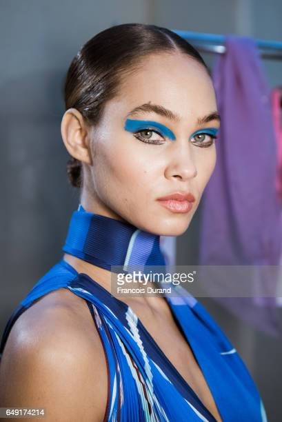 Model poses backstage before the Leonard Paris show as part of the Paris Fashion Week Womenswear Fall/Winter 2017/2018 on March 6, 2017 in Paris,...