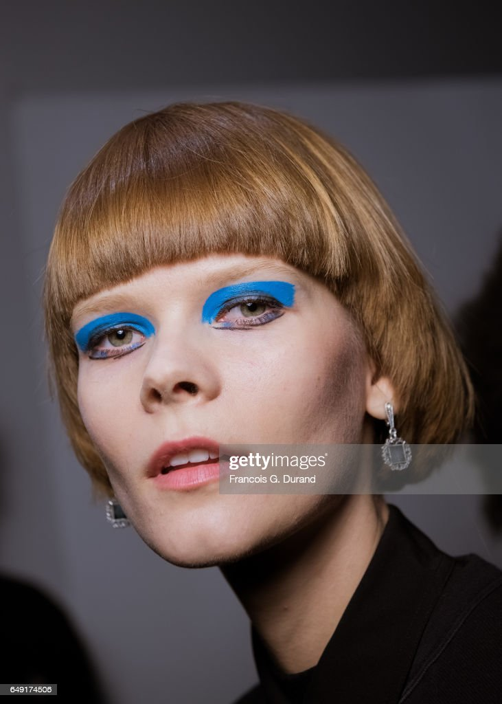 A model poses backstage before the Leonard Paris show as part of the Paris Fashion Week Womenswear Fall/Winter 2017/2018 on March 6, 2017 in Paris, France.