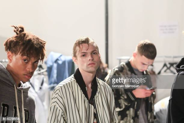 A model poses backstage before the REPRESENT fashion show during the NYFW Men's July 2017 Skylight Clarkson Sq on July 13 2017 in New York City