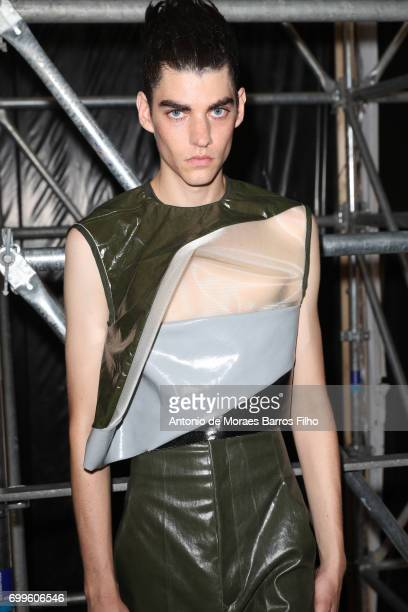 Model poses backstage before the Rick Owens Menswear Spring/Summer 2018 show as part of Paris Fashion Week on June 22, 2017 in Paris, France.