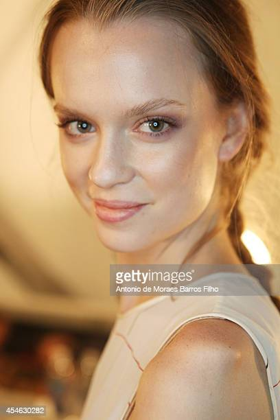 Model poses backstage before the Supima show during Mercedes-Benz Fashion Week Spring 2015 at The Pavilion at Lincoln Center on September 4, 2014 in...
