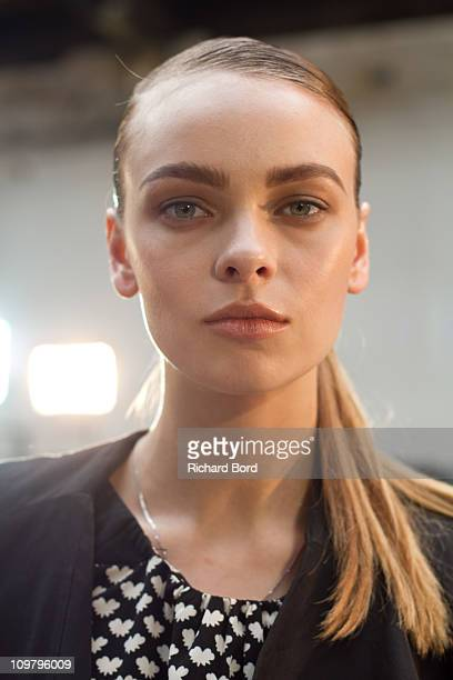 Model poses backstage before the Veronique Leroy Ready to Wear Autumn/Winter 2011/2012 show during Paris Fashion Week at Palais De Tokyo on March 5,...