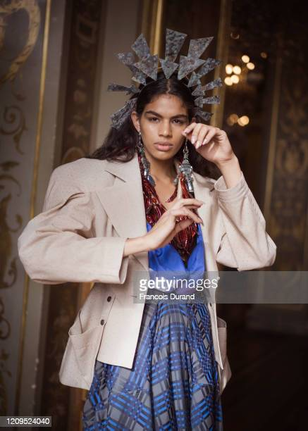 Model poses backstage before the Vivienne Westwood Womenswear Fall/Winter 2020/2021 show as part of Paris Fashion Week on February 29, 2020 in Paris,...