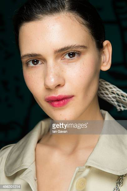 A model poses backstage before the Véronique Leroy Spring/Summer 2015 show at the Palais de Tokyo on September 27 2014 in Paris France