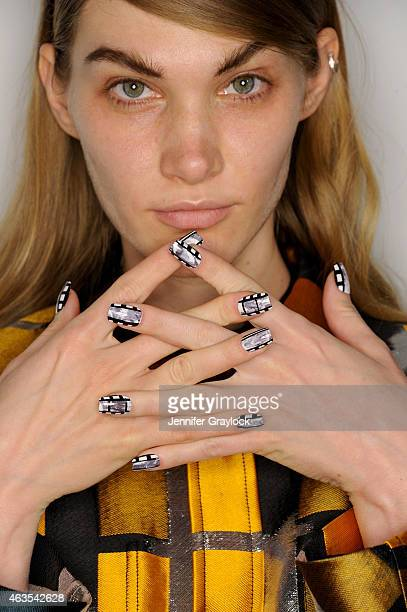 A model poses backstage during CND opening ceremony Fall/Winter 2015 on February 15 2015 in New York City