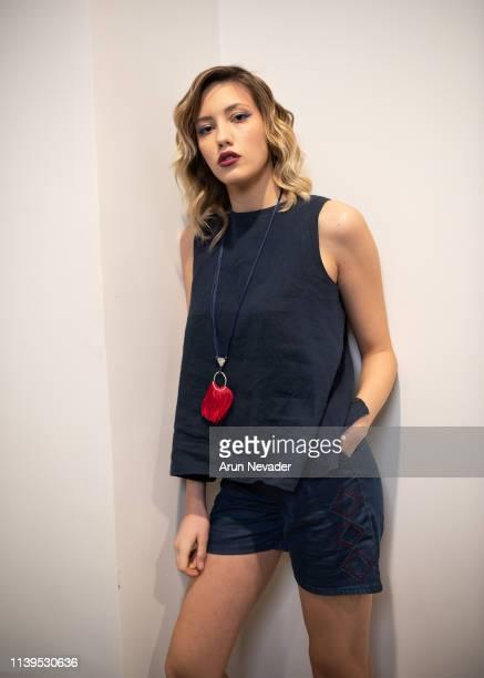 A model poses backstage during Jordan Fashion Week 019 at the Kempinski Amman on March 30 2019 in Amman Jordan