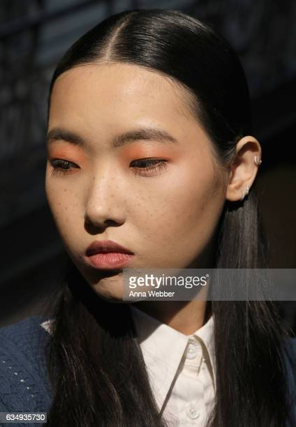 A model poses backstage during Mary Kay at Tracy Reese F/W'17 presentation and backstage on February 12 2017 in New York City