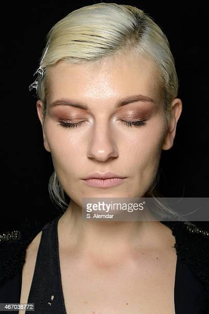 A model poses backstage during Mercedes Benz Fashion Week Istanbul FW15 on March 20 2015 in Istanbul Turkey