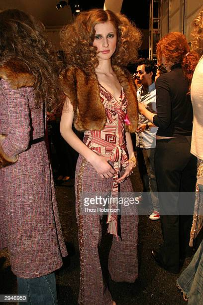 A model poses backstage during Olympus Fashion Week at Bryant Park February 8 2004 in New York City