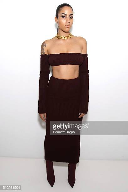 A model poses backstage during SheaMoisture at Laquan Smith F/W 2016 NYFW at Jack Studios on February 14 2016 in New York City