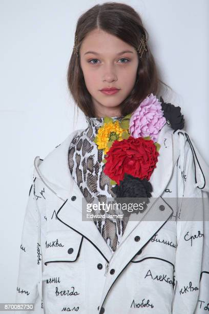 A model poses backstage during the Alexander Arutyunov fashion show at MercedesBenz Fashion Week Tbilisi on November 4 2017 in Tbilisi Georgia
