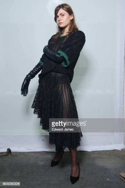 A model poses backstage during the Atelier Kikala Fall/Winter 2018/2019 Collection fashion show at MercedesBenz Fashion Week Tbilisi on May 5 2018 in...