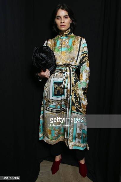 A model poses backstage during the Bessarion Fall/Winter 2018/2019 Collection fashion show at MercedesBenz Fashion Week Tbilisi on May 7 2018 in...