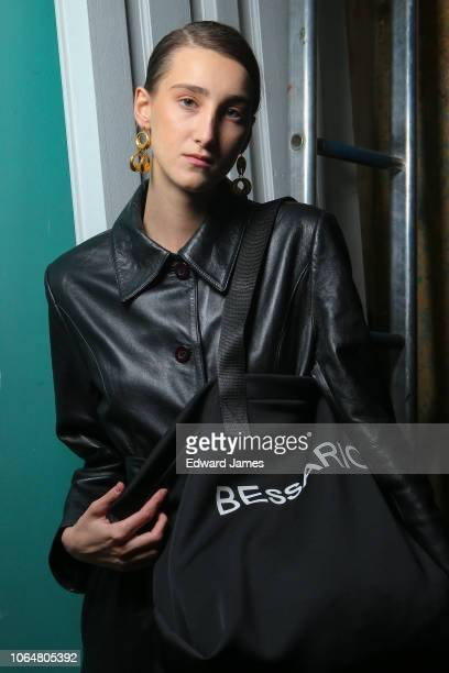 Model poses backstage during the Bessarion Spring/Summer 2019 Collection fashion show at Mercedes-Benz Fashion Week Tbilisi on November 5, 2018 in...