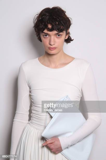A model poses backstage during the Bevza Fall/Winter 2017/2018 collection fashion show during MercedesBenz Fashion Week Tbilisi on May 7 2017 in...