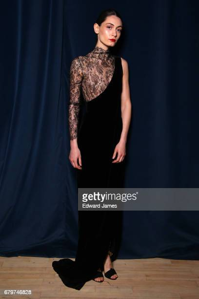 A model poses backstage during the Djaba Diassamidze Fall/Winter 2017/2018 collection fashion show during MercedesBenz Fashion Week Tbilisi on May 6...