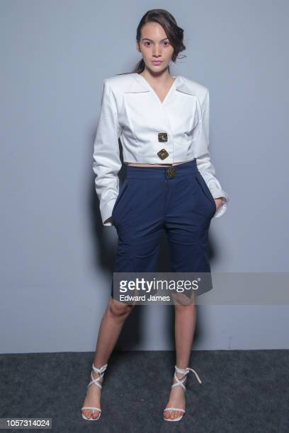 A model poses backstage during the Elenny Spring/Summer 2019 Collection fashion show at MercedesBenz Fashion Week Tbilisi on November 3 2018 in...