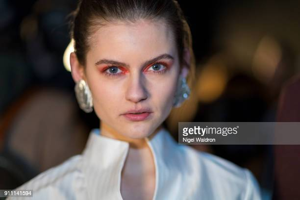 A model poses backstage during the Fashion Week Oslo 2018 at the Maud and Fram show on January 27 2018 in Oslo Norway