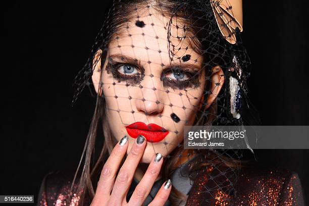 A model poses backstage during the Greta Constantine fashion show at David Pecaut Square on March 18 2016 in Toronto Canada