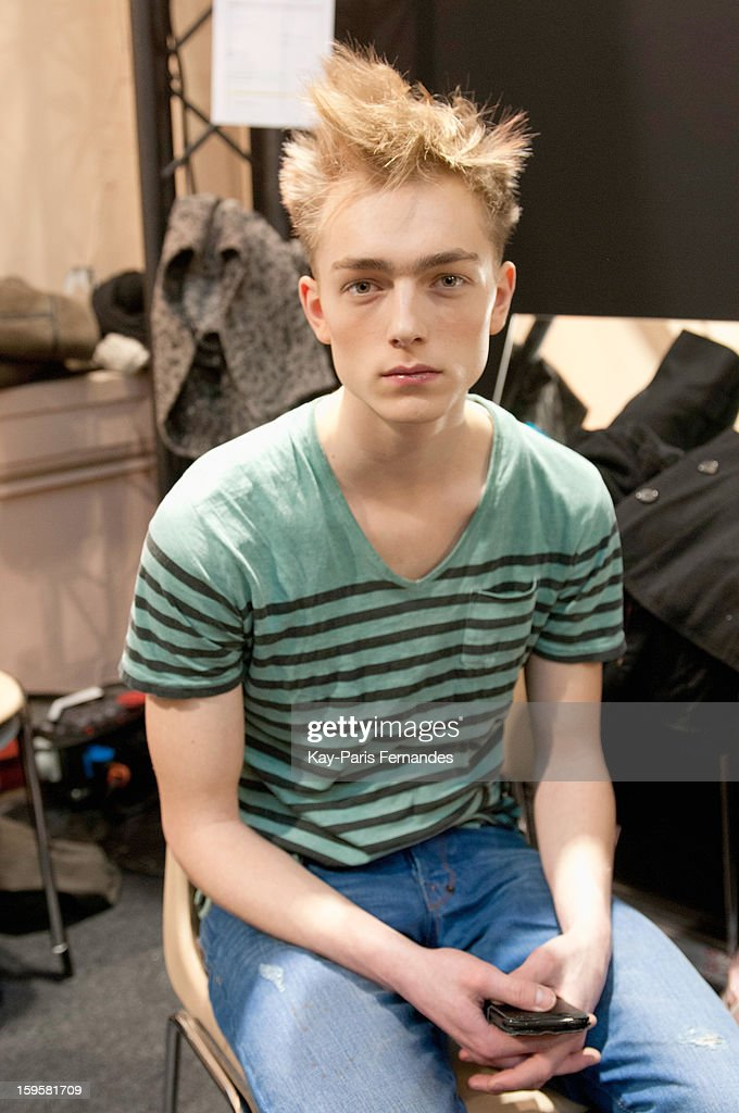A model poses backstage during the John Lawrence Sullivan Men Autumn / Winter 2013 show as part of Paris Fashion Week on January 16, 2013 in Paris, France.