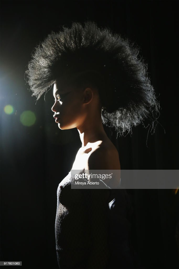 A model poses backstage during the Kaimin fashion show at the Glass Houses on February 12, 2018 in New York City.