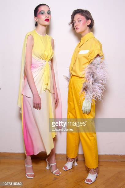 A model poses backstage during the Lado Bokuchava Spring/Summer 2019 Collection fashion show at MercedesBenz Fashion Week Tbilisi on November 3 2018...
