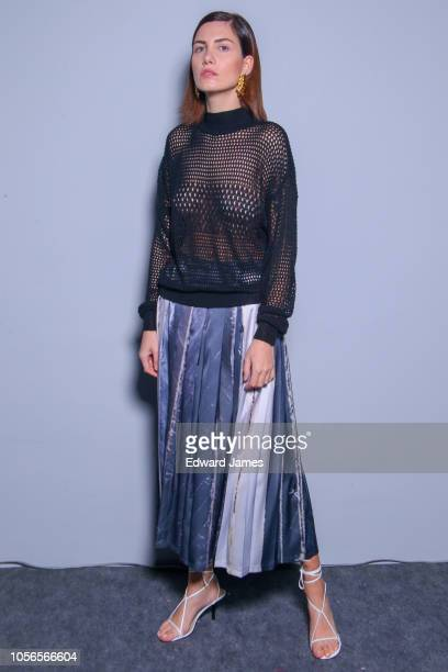 A model poses backstage during the Lako Bukia Spring/Summer 2019 Collection fashion show at MercedesBenz Fashion Week Tbilisi on November 2 2018 in...