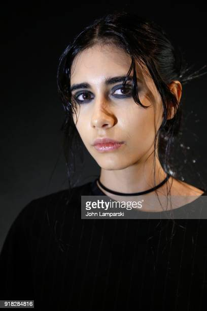 A model poses backstage during the Leanne Marshall show during February 2018 New York Fashion Week The Shows at Gallery II at Spring Studios on...