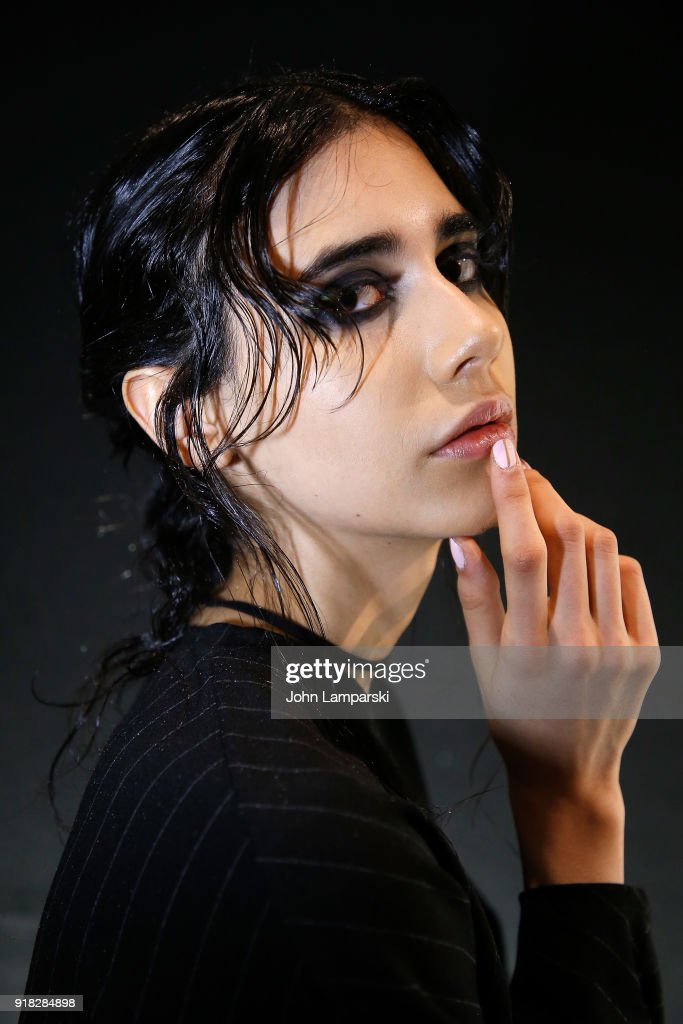 A model poses backstage during the Leanne Marshall show during February 2018 New York Fashion Week: The Shows at Gallery II at Spring Studios on February 14, 2018 in New York City.