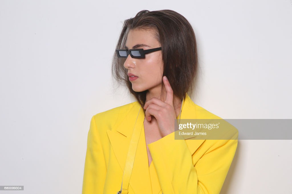 A model poses backstage during the Mach & Mach Fall/Winter 2017/2018 collection fashion show during Mercedes-Benz Fashion Week Tbilisi on May 7, 2017 in Tbilisi, Georgia.