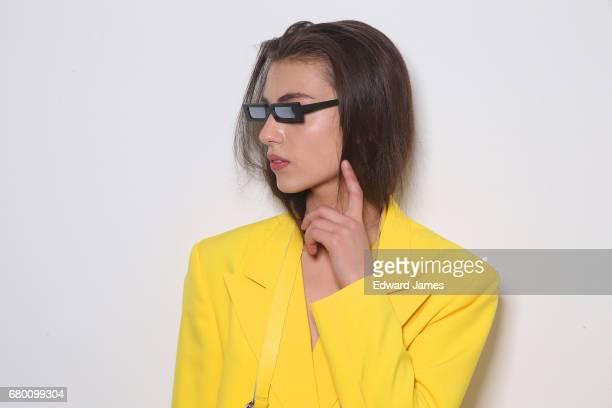 A model poses backstage during the Mach Mach Fall/Winter 2017/2018 collection fashion show during MercedesBenz Fashion Week Tbilisi on May 7 2017 in...