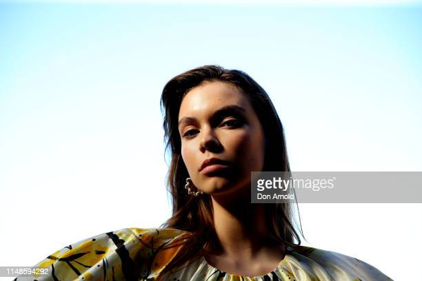 Model poses backstage during the Mercedes-Benz Presents Aje show at Mercedes-Benz Fashion Week Resort 20 Collections at Campbell's Stores on May 12,...