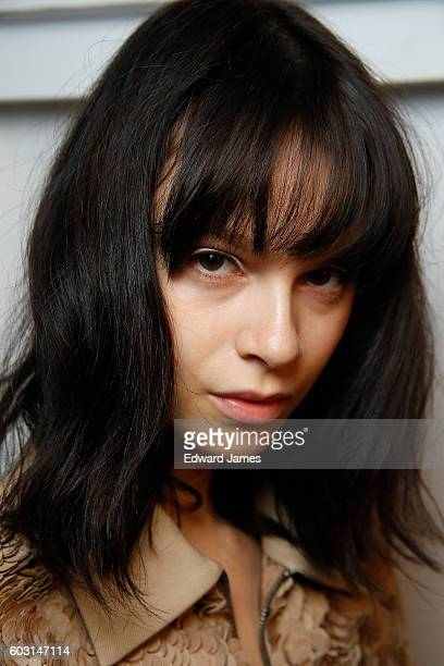 A model poses backstage during the Noon by Noor fashion show at The Gallery Skylight at Clarkson Sq on September 8 2016 in New York City