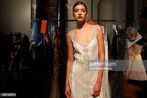 A model poses backstage during the Red Carpet runway show at MercedesBenz Fashion Festival Sydney at Sydney Town Hall on September 26 2014 in Sydney...