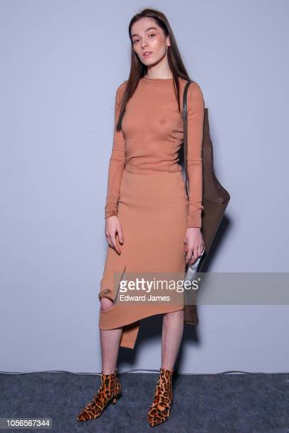 A model poses backstage during the Salome Tkabladze Spring/Summer 2019 Collection fashion show at MercedesBenz Fashion Week Tbilisi on November 2...
