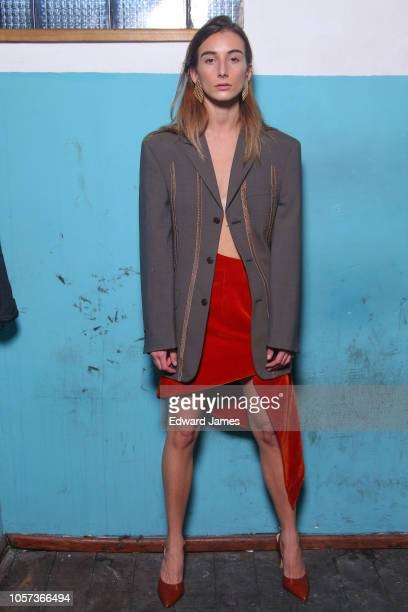 A model poses backstage during the Situationist Spring/Summer 2019 Collection fashion show at MercedesBenz Fashion Week Tbilisi on November 4 2018 in...