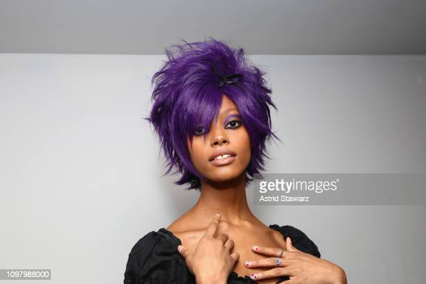Model poses backstage for Anna Sui fashion show during New York Fashion Week: The Shows at Gallery I at Spring Studios on February 11, 2019 in New...