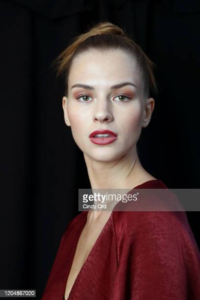 A model poses backstage for Badgley Mischka during New York Fashion Week The Shows at Gallery I at Spring Studios on February 08 2020 in New York City