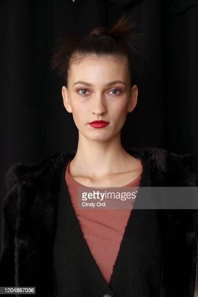 Model poses backstage for Badgley Mischka during New York Fashion Week: The Shows at Gallery I at Spring Studios on February 08, 2020 in New York...