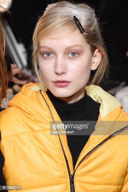 A model poses backstage for Badgley Mischka during New York Fashion Week The Shows at Gallery I at Spring Studios on February 13 2018 in New York City