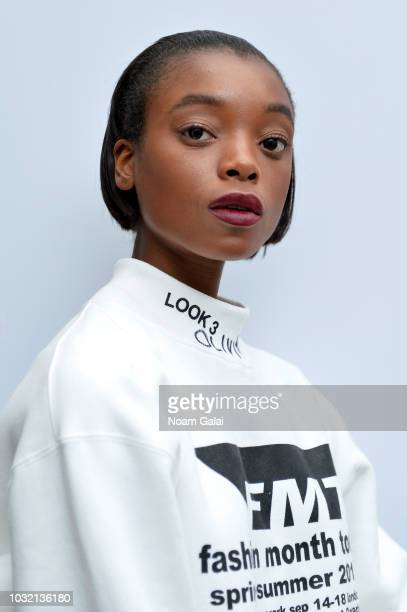 A model poses backstage for Calvin Luo during New York Fashion Week The Shows at Gallery I at Spring Studios on September 12 2018 in New York City