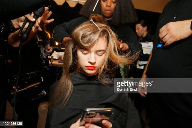 A model poses backstage for Christopher John Rogers during New York Fashion Week The Shows at Gallery I at Spring Studios on February 08 2020 in New...