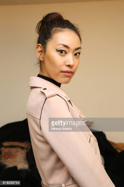A model poses backstage for Irina Vitjaz during New York Fashion Week The Shows at Gallery I at Spring Studios on February 14 2018 in New York City