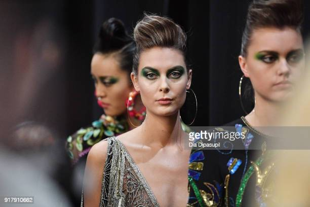 A model poses backstage for Naeem Khan during New York Fashion Week The Shows at Gallery I at Spring Studios on February 13 2018 in New York City