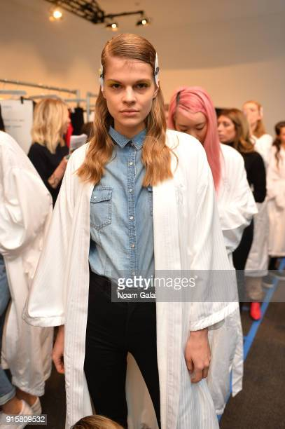 A model poses backstage for Noon By Noor during New York Fashion Week The Shows at Gallery II at Spring Studios on February 8 2018 in New York City