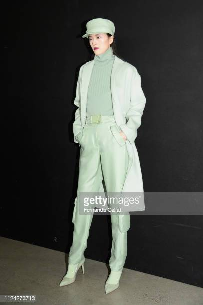 A model poses backstage for Sally LaPointe fashion show during New York Fashion Week The Shows at Gallery I at Spring Studios on February 12 2019 in...