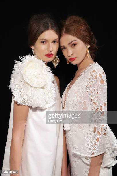 A model poses backstage for the Badgley Mischka fashion show during September 2017 New York Fashion Week The Shows at Gallery 1 Skylight Clarkson Sq...