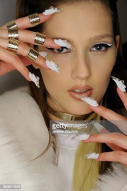A model poses backstage for The Blonds with CND Fall/Winter 2015 at Milk Studios on February 18 2015 in New York City