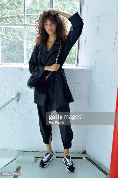 A model poses backstage for the Hardware LND show during New York Fashion Week The Shows at Industria Studios on September 6 2018 in New York City